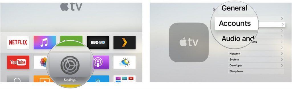 Music app Apple TV Settings accounts screenshot