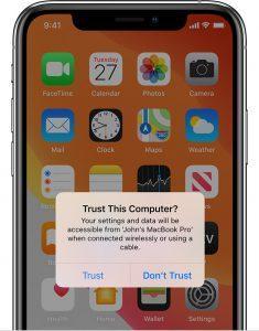 ios13 iphone xs home trust computer alert