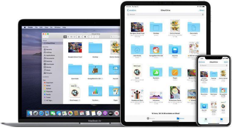ios13 macos catalina macbook air ipad pro iphone xs icloud drive hero