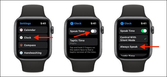 Enabling Speak Time Feature on Apple Watch