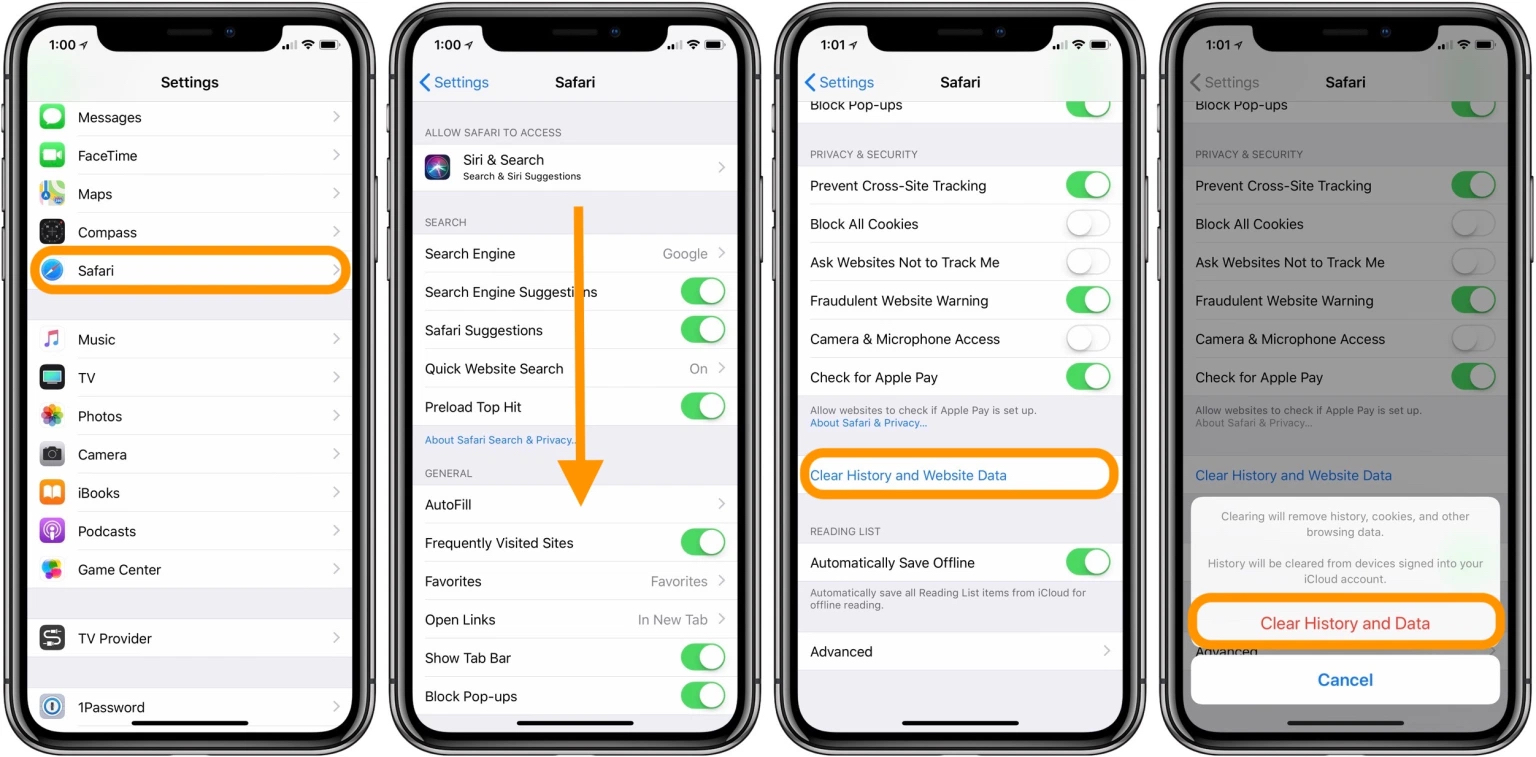 how to clear cache iphone ipad