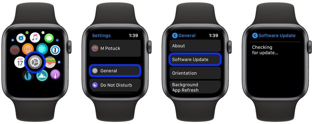 how to update software directly apple watch